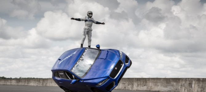 Jaguar F-PACE rides up Goodwood Hill on two wheels!